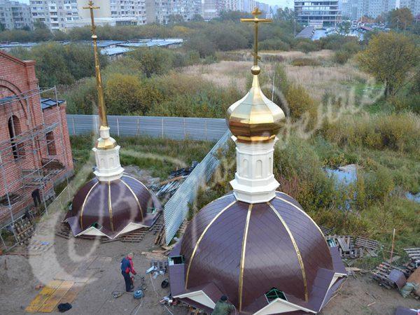 Изготовление шатров и шлемов для храма в Москве.